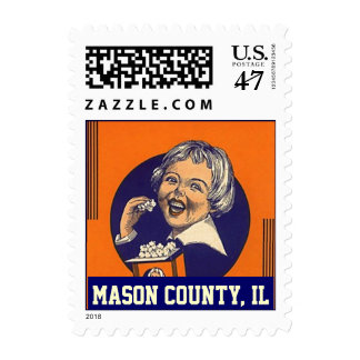 Mason County Il popcorn girl vintage color Stamps