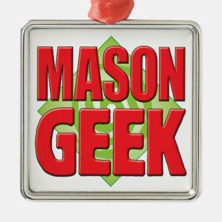 Mason Geek v2 Silver-Colored Square Decoration