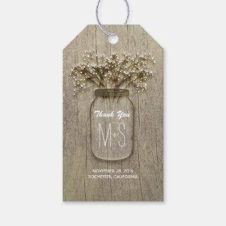 Mason Jar and Baby's Breath Rustic Wedding Gift Tags