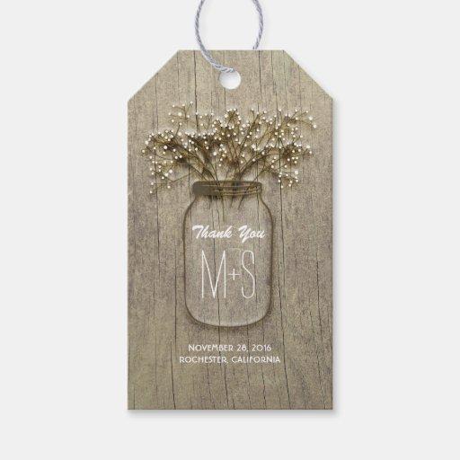 Rustic Wedding Gift Tags : Mason Jar and Babys Breath Rustic Wedding Gift Tags Zazzle