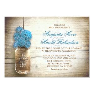 Mason jar and blue flowers wedding invitations