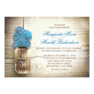 Mason jar and blue flowers wedding invitations