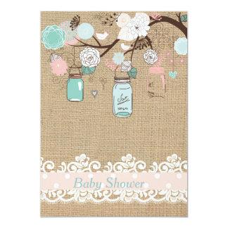 Mason Jar And Burlap Baby Shower Invitation