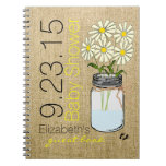 Mason Jar and Burlap Image-Baby Shower Guest Book- Notebook
