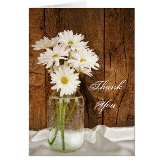 Mason Jar and Daisies Country Bridesmaid Thank You Greeting Cards