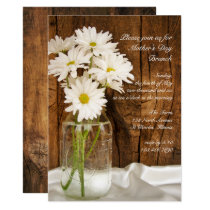 Mason Jar and Daisies Country Mother's Day Brunch Invitation