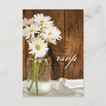 Mason Jar and Daisies Country Wedding RSVP Card