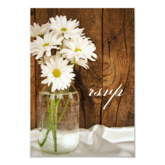 Mason Jar and Daisies Country Wedding RSVP Card Announcements