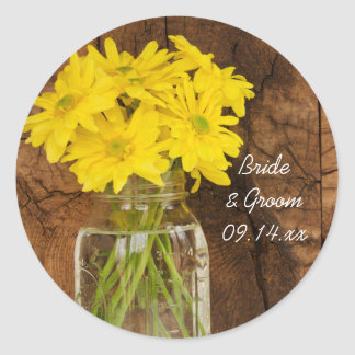 Mason Jar and Daisies Country Wedding Stickers