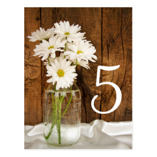 Mason Jar and Daisies Country Wedding Table Number Postcard