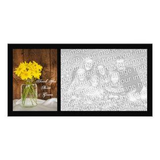 Mason Jar and Daisies Country Wedding Thank You Photo Card
