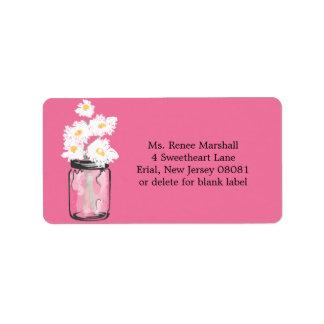 Mason Jar and Daisies Personalized Address Label