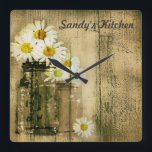 "Mason Jar and Daisies Personalized Kitchen Clock<br><div class=""desc"">Mason jars and daisies with a personalized touch. The text can be changed to your name.</div>"