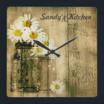 """Mason Jar and Daisies Personalized Kitchen Clock<br><div class=""""desc"""">Mason jars and daisies with a personalized touch. The text can be changed to your name.</div>"""