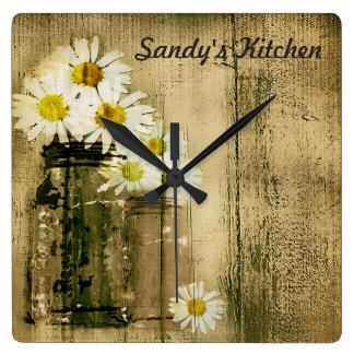 Mason Jar and Daisies Personalized Kitchen Clock