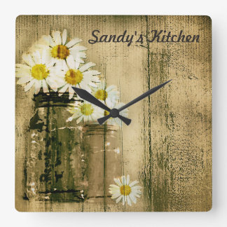 Mason Jar and Daisies Personalized Kitchen Clock