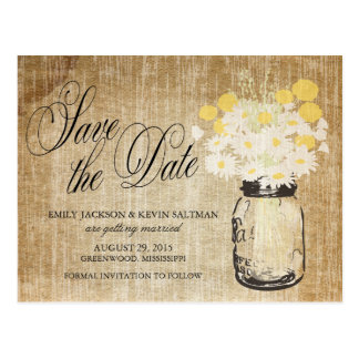 Mason Jar and Daisies Save the Date Postcard