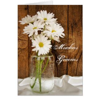 Mason Jar and Daisies Spanish Thank You Note Card