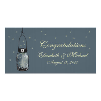 Mason Jar and Fireflies Banner Poster