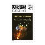 Mason Jar and Fireflies Enchanted Wedding Postage Stamp