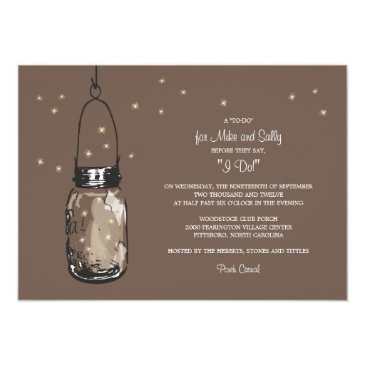 Mason Jar and Fireflies Engagement Party 5x7 Paper Invitation Card
