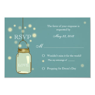 "Mason Jar and Fireflies Heart RSVP Invitation 3.5"" X 5"" Invitation Card"
