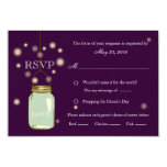 Mason Jar and Fireflies Heart RSVP Meal Options Card