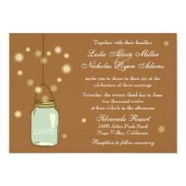 Mason Jar and Fireflies Heart Wedding Invitation 5