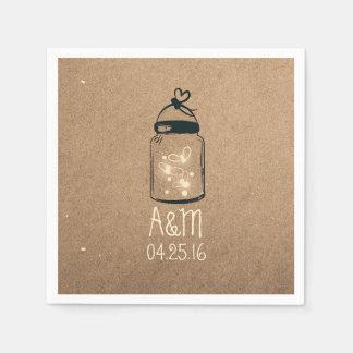Mason Jar and Fireflies Rustic Paper Napkin