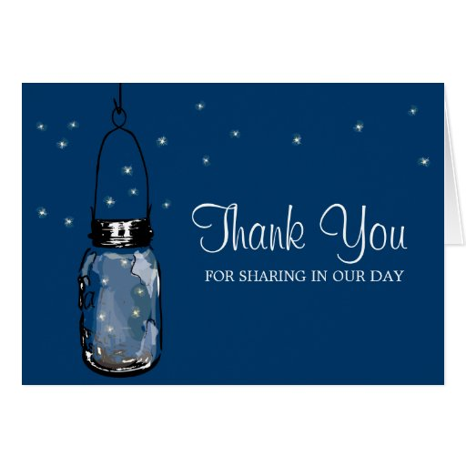 Mason Jar and Fireflies Stationery Note Card
