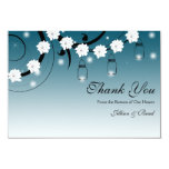 Mason Jar and Fireflies Thank You Card - Blue