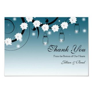 Mason Jar and Fireflies Thank You Card - Blue
