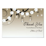 Mason Jar and Fireflies Thank You Card - Gold