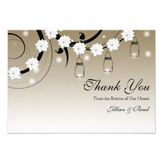 Mason Jar and Fireflies Thank You Card - Gold