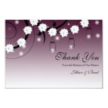 Mason Jar and Fireflies Thank You Card - Plum