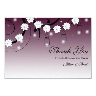Mason Jar and Fireflies Thank You Card - Plum