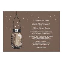 "Mason Jar and Fireflies Wedding Invitations 5"" X 7"" Invitation Card"