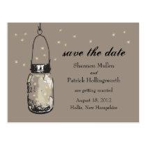 Mason Jar and Fireflies Wedding Invitations Postcards