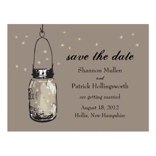 Mason Jar and Fireflies Wedding Invitations Postcard