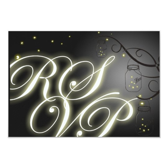 Mason Jar and Firefly RSVP - Black White Card
