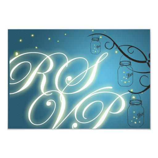 Mason Jar and Firefly RSVP - Blue Teal 3.5x5 Paper Invitation Card