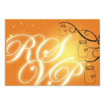 Mason Jar and Firefly RSVP Postcard - Orange Personalized Announcements