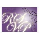 Mason Jar and Firefly RSVP Postcard - Purple Grape Custom Invitations