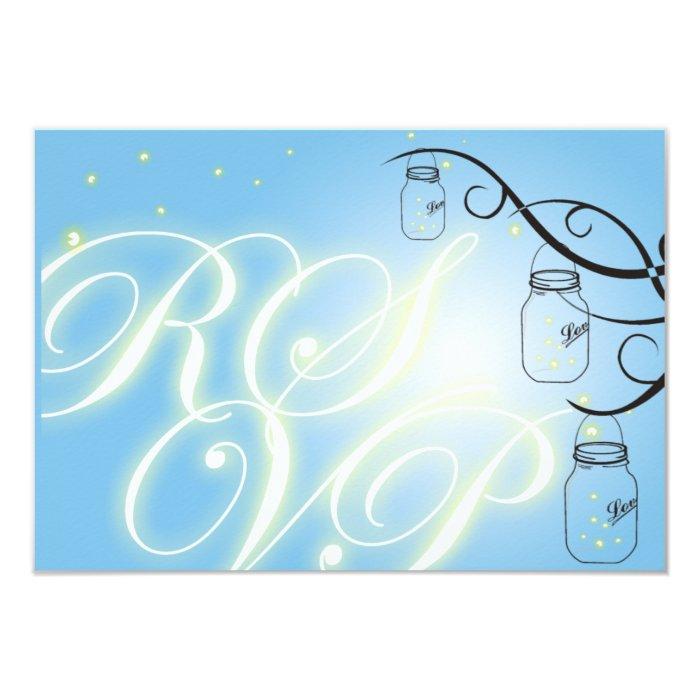 Mason Jar and Firefly RSVP Postcard - Sky Blue
