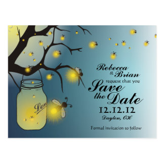 Mason Jar and Firefly Save The Date Postcard