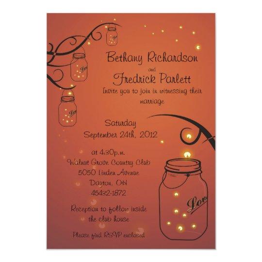 Mason Jar and Firefly Wedding Invitation Orange