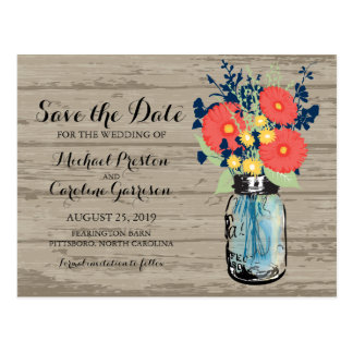 Mason Jar and Gerber Daisies Save the Date Postcard