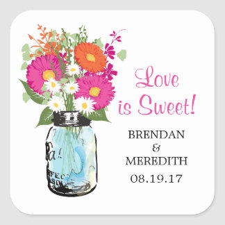 Mason Jar and Gerber Daisies Wedding Square Sticker