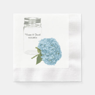 Mason Jar and Hydrangea Custom Wedding Napkins