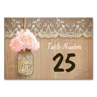 mason jar and hydrangea rustic table number cards
